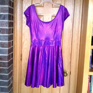 c81ff7a2608a Coquetry purple hologram cap sleeve skater dress